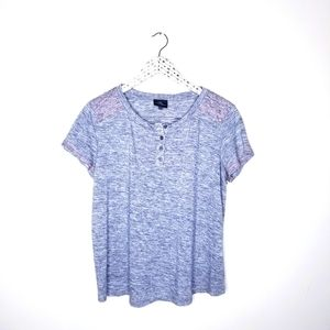 Market & Sprouse: Gray Textured Popover Tee